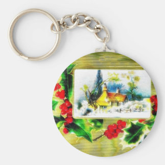 Christmas greeting with scenary key chains