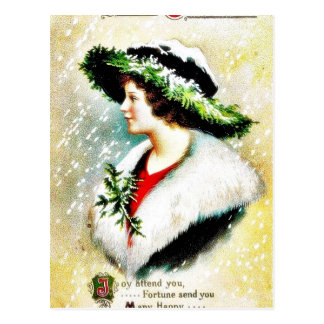 Christmas greeting with shocks full gifts reflects post card
