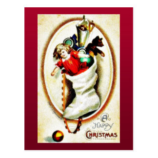 Christmas greeting with shocks full gifts reflects postcard