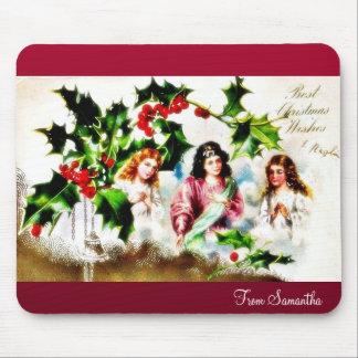 Christmas greeting with three angels praying mousepad