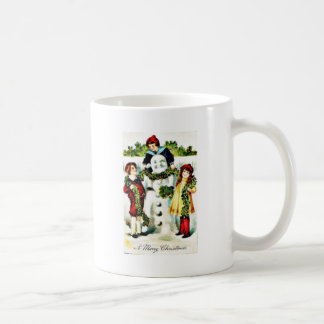 Christmas greeting with three kids wearing a garla coffee mugs
