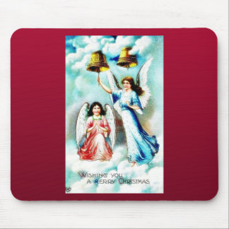Christmas greeting with two angels, one rings the mousepads