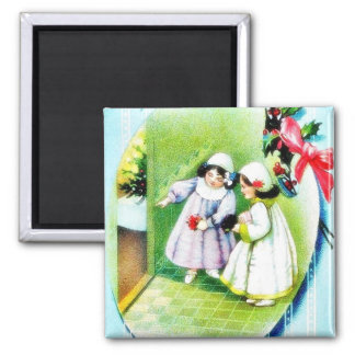 Christmas greeting with two girls magnets