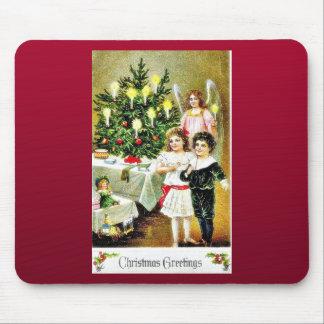 Christmas greeting with two kids praying and angel mousepad