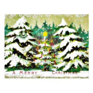 Christmas greeting with wishes written in a mirror post cards