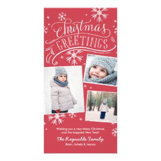 Christmas Greetings 3-Photo Snowflake Holiday Photo Card