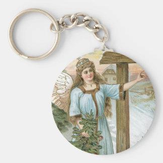Christmas Greetings Angel Basic Round Button Key Ring