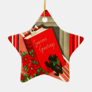 Christmas Greetings Black Scottie Dog Ceramic Star Decoration