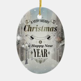 Christmas Greetings Ceramic Oval Ornament