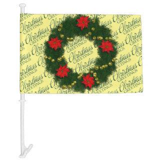 Christmas Greetings Christmas Wreath Car Flag