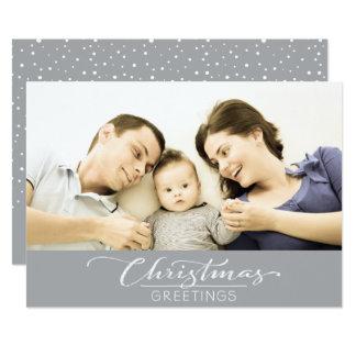 Christmas Greetings Customizable Photo Card - Gray