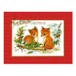 Christmas Greetings Foxes Vintage Reproduction Postcard