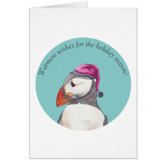 Christmas greetings from puffin - watercolors card