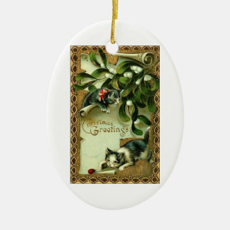 Christmas Greetings from two cute little kitties! Ceramic Oval Decoration