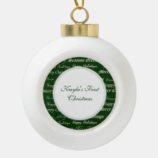 Christmas Greetings (Gold) Ceramic Ball Decoration
