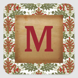 Christmas Greetings Gold Holiday Monogram Sticker