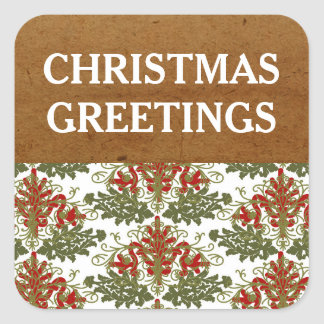 Christmas Greetings Gold Holiday Sticker