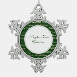 Christmas Greetings (Gold) Pewter Snowflake Decoration