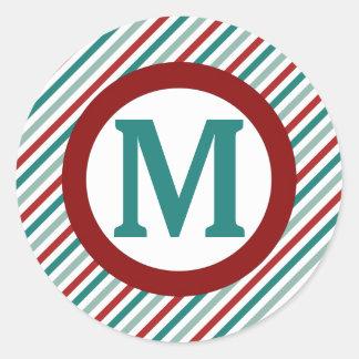 Christmas Greetings Green Holiday Monogram Sticker