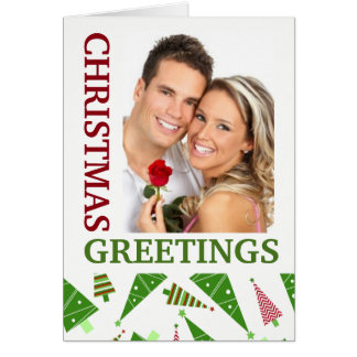 Christmas Greetings Green Red Holiday Photo Card