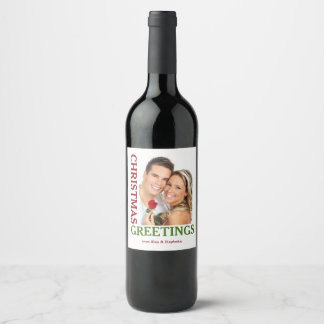 Christmas Greetings Green Red Holiday Wine Labels