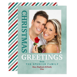 Christmas Greetings Green Red Photo Holiday Card