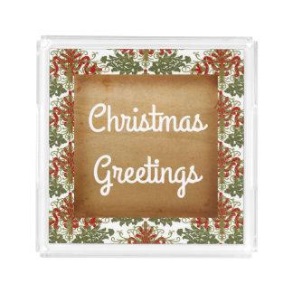Christmas Greetings Holiday Acrylic Tray
