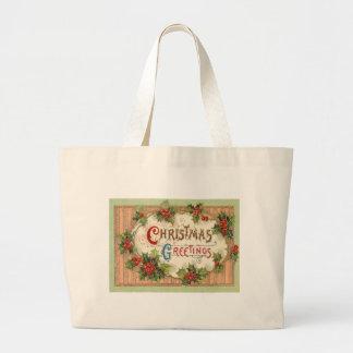 Christmas Greetings Holly Jumbo Tote Bag