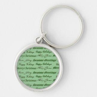 Christmas Greetings Silver-Colored Round Key Ring