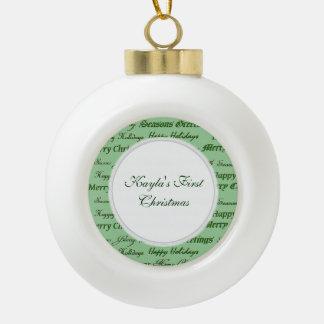 Christmas Greetings. Ceramic Ball Christmas Ornament