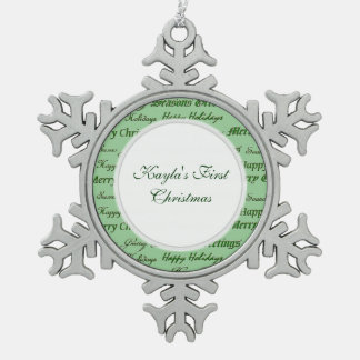 Christmas Greetings Pewter Snowflake Decoration