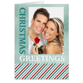 Christmas Greetings Photo Green Holiday Card
