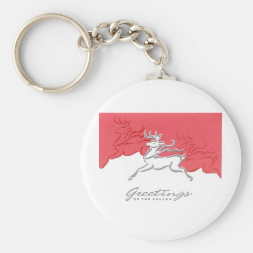 Christmas Greetings Reindeer Red White Holiday Art Keychains