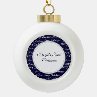 Christmas Greetings (Silver) Ceramic Ball Decoration