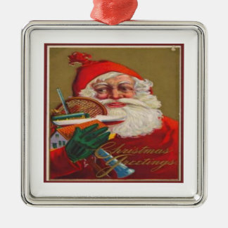 Christmas Greetings Silver-Colored Square Decoration