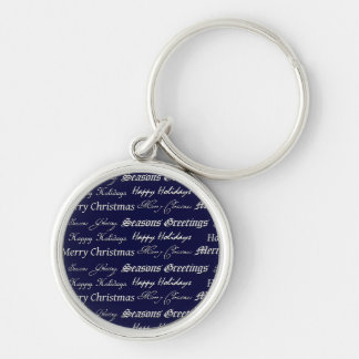 Christmas Greetings (Silver) Silver-Colored Round Key Ring