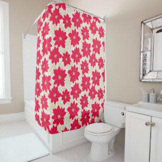 Christmas Greetings, with Gold, Red Poinsettias Shower Curtain