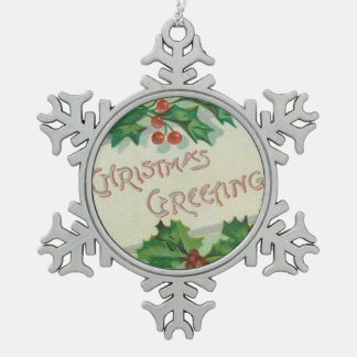 Christmas Greetings with Holly Pewter Snowflake Decoration