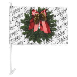 Christmas Greetings Wreath Car Flag