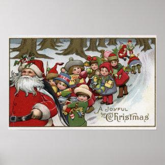 Christmas GreetingSanta and Helpers Poster