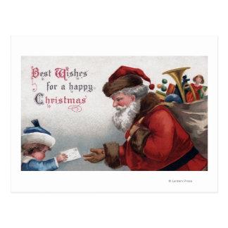 Christmas GreetingSanta Getting Letter Postcard