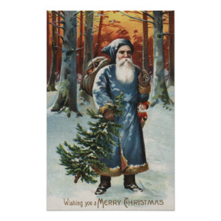Christmas GreetingSanta in Blue Poster