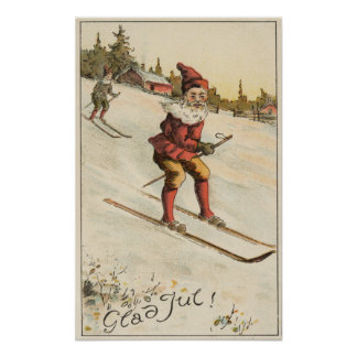 Christmas GreetingSanta Skiing Poster