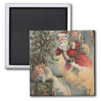 Christmas GreetingSanta with Tree and Gifts Fridge Magnet