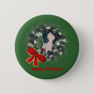 Christmas Greyhound Wreath Bow Holiday Button Pin