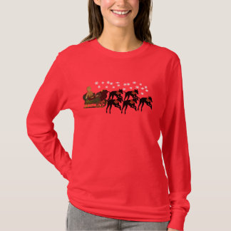 Christmas Greyhounds Pulling Sleigh Cute T-Shirt