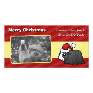 Christmas Guinea Pig (long hair) Photo Greeting Card