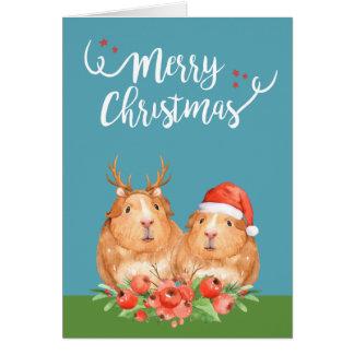 Christmas Guinea Pigs Santa and Reindeer Wreath Card