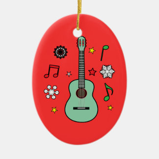 Christmas Guitar Ceramic Ornament