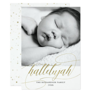 Christmas Hallelujah | Faux Gold with Photo Card
